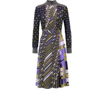 Belted pleated printed silk dress