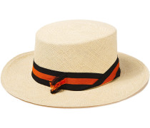 Woman Canvas-trimmed Toquilla Straw Panama Hat Ecru