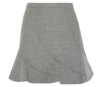 Flared Wool Mini Skirt Hellgrau