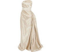 Gathered cotton-blend satin gown
