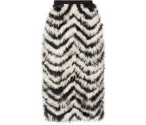 Skyla feather-paneled crepe skirt