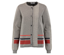 Jacquard-knit Wool-blend Cardigan Beige