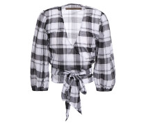 Checked Cotton-mousseline Wrap Top