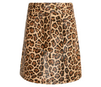 Leopard-print Calf Hair Mini Skirt Leoparden-Print
