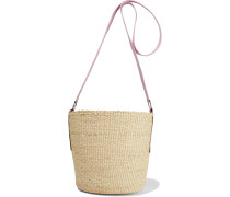 Woman Leather-trimmed Toquilla Straw Bucket Bag Pink