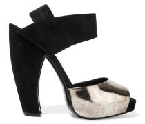 Metallic Leather And Suede Sandals Schwarz