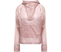 Woman Checked Shell Hooded Jacket Antique Rose