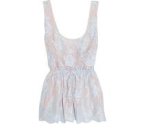 Sweet Sumatra lace and silk-chiffon pajama top