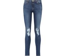 Distressed Low-rise Slim-leg Jeans Dunkler Denim