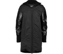 Faux leather-paneled padded shell coat