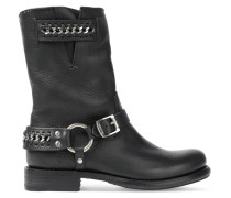 Jenna Chain-embellished Leather Boots Schwarz