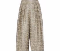 Metallic cotton-blend bouclé-tweed culottes