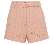Woman Conley Belted Broderie Anglaise Cotton Shorts Blush