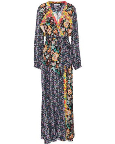 Ruffle-trimmed Printed Crepe Maxi Wrap Dress Multicolor