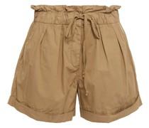Shorts aus Baumwollpopeline mit Rüschenbesatz
