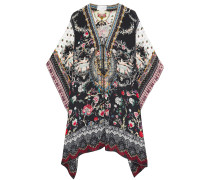 Lace-up Crystal-embellished Printed Silk Crepe De Chine Coverup