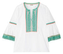 Clara Embroidered Cotton-poplin Blouse Weiß