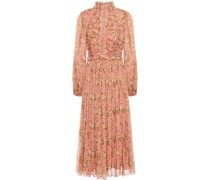 Espionage Lace-up Ruched Floral-print Silk-crepon Midi Dress