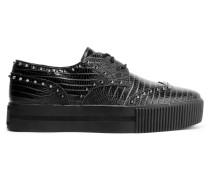Krush Studded Croc-effect Leather Platform Sneakers Schwarz