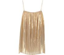 Pleated Metallic Silk-blend Cami Gold