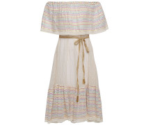 Off-the-shoulder Metallic Striped Cotton-blend Gauze Dress