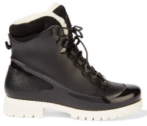 Rubstep Shearling And Rubber Boots Schwarz