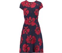 Floral-print Stretch Cotton-blend Dress Mitternachtsblau