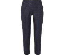Woman Sequined Tweed Tapered Pants Navy