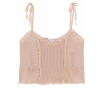 Crochet-trimmed Pointelle-knit Cashmere And Silk-blend Top Neutral