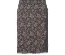 Embroidered metallic mesh midi skirt