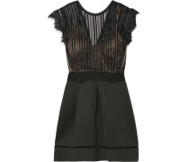 Ina Pleated Lace And Cotton-blend Neoprene Dress Schwarz