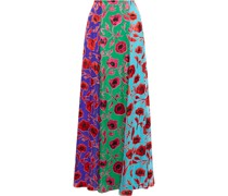 Aquinnah Color-block Floral-print Burnout Chiffon Maxi Skirt
