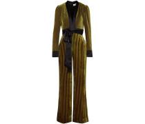 Satin-trimmed Striped Devoré-velvet Jumpsuit