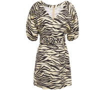 Belted Zebra-print Linen Mini Dress