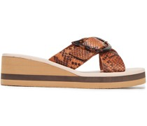 Thais Buckled Snake-effect Leather Wedge Sandals