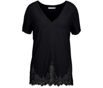 Daryl lace-trimmed stretch-modal jersey top