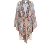 Crystal-embellished Printed Silk Crepe De Chine Kimono