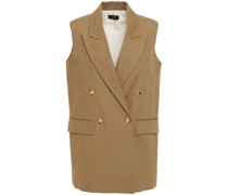 Double-breasted Cotton And Linen-blend Canvas Vest