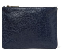 Textured-leather Pouch Navy