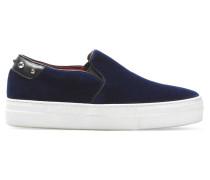Embellished Velour Slip-on Sneakers Mitternachtsblau