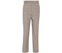 Woman Oman Checked Wool And Cotton-blend Straight-leg Pants Gray