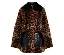 Mantel aus Shearling mit Leopardenprint und Ledereinsatz
