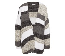 Sequin-embellished Striped Knitted Cardigan