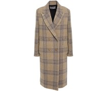 Kendall Double-breasted Checked Wool-tweed Coat