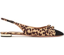 Mondaine Faille-trimmed Knotted Leopard-print Twill Mules