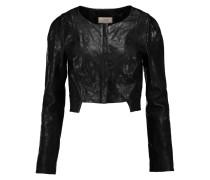 Majorelle Cropped Embossed Leather Jacket Schwarz