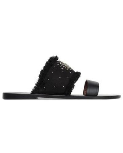 Kubo Embellished Leather And Suede Sandals Black
