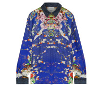 Woman Maikos Midnight Crystal-embellished Printed Silk-twill Shirt Royal Blue