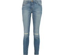 Woman Distressed Mid-rise Skinny Jeans Mid Denim