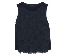 Collection Chiffon And Organza-paneled Merino Wool Top Mitternachtsblau